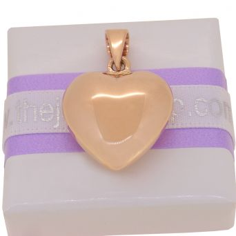 9CT ROSE GOLD 21mm wide PUFFED HEART PENDANT CHARM