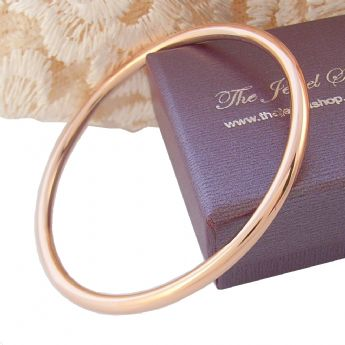 9CT ROSE GOLD 4mm TRADITIONAL GOLF BANGLE All Sizes Available