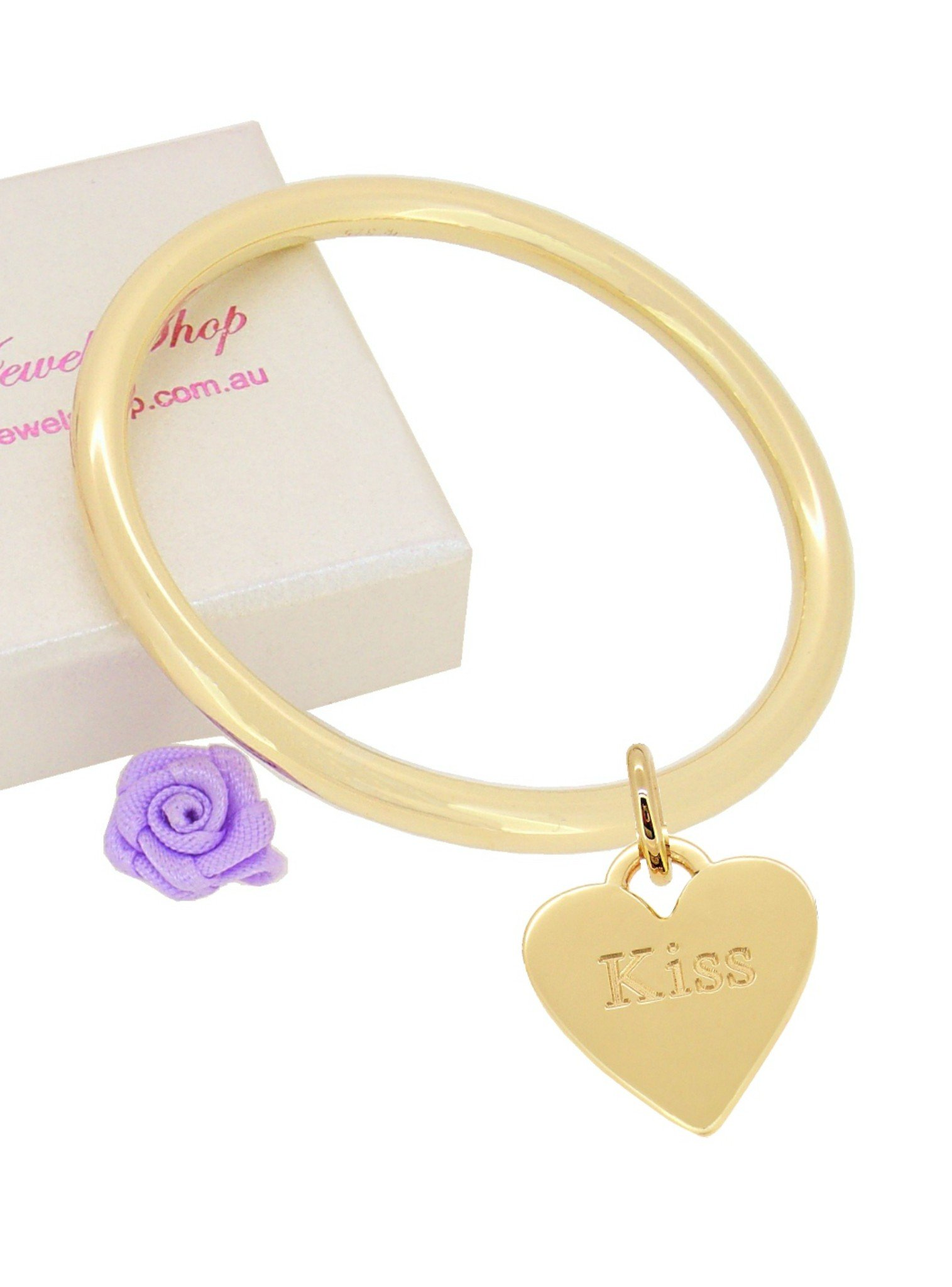 9ct Yellow Gold 4mm Golf Bangle Heart Tag Charm All Sizes Baby to Adult