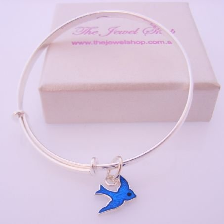 STERLING SILVER BABY CHILD 40mm-48mm EXPANDABLE BANGLE WITH 10MM BLUEBIRD OF HAPPINESS CHARM