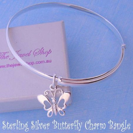 STERLING SILVER 60mm-68mm EXPANDABLE BANGLE WITH 15MM BUTTERFLY CHARM