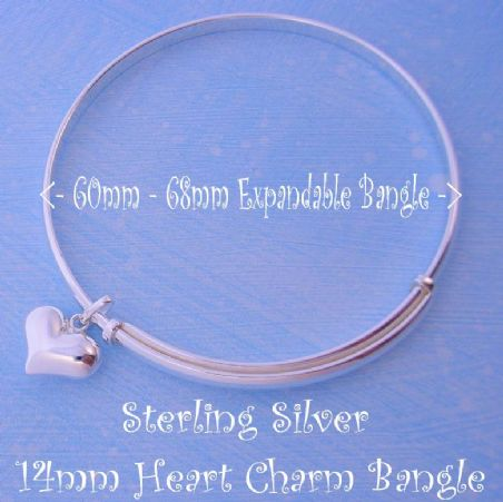 STERLING SILVER 60mm-68mm EXPANDABLE BANGLE WITH 14MM LOVE HEART CHARM