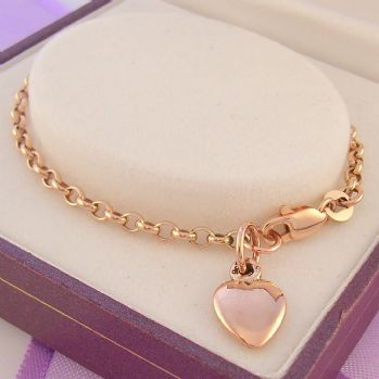 9CT ROSE GOLD 8mm HEART 19cm ADJUST SIZE BELCHER CHARM BRACELET -BO1-HR1980