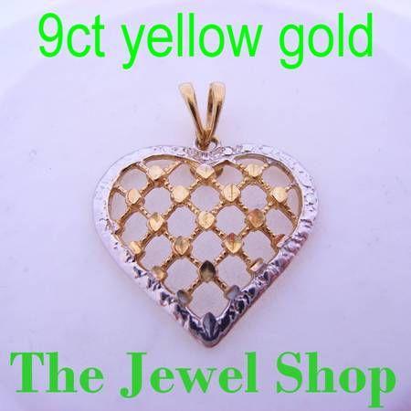 9CT YELLOW GOLD FILIGREE LATTICE HEART PENDANT