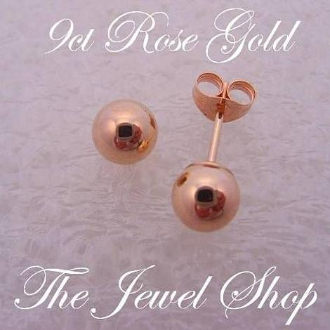 9CT ROSE GOLD 5mm BALL STUD EARRINGS