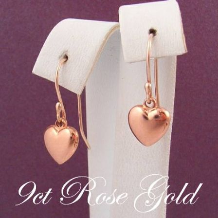 9CT ROSE GOLD 8mm HEART CHARM DROP HOOK EARRINGS