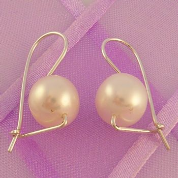 STERLING SILVER EUROBALL DESIGN 8mm FRESHWATER PEARLS DESIGNER EARRINGS