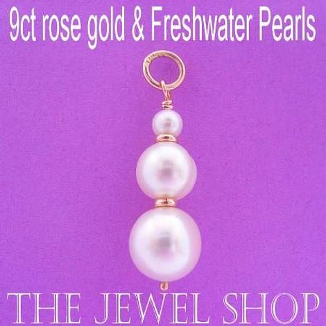 9CT ROSE GOLD NATURAL WHITE ROUND FRESHWATER PEARL PENDANT