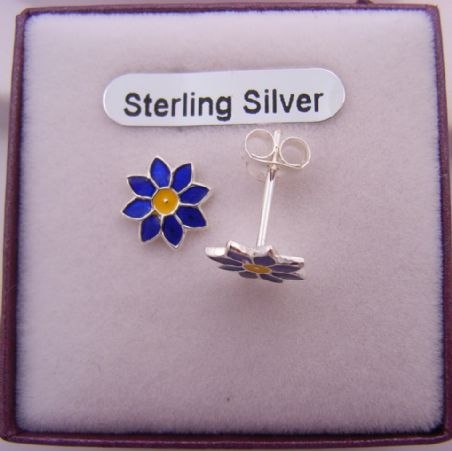 STERLING SILVER 8mm DAISY FLOWER ENAMEL STUD EARRINGS