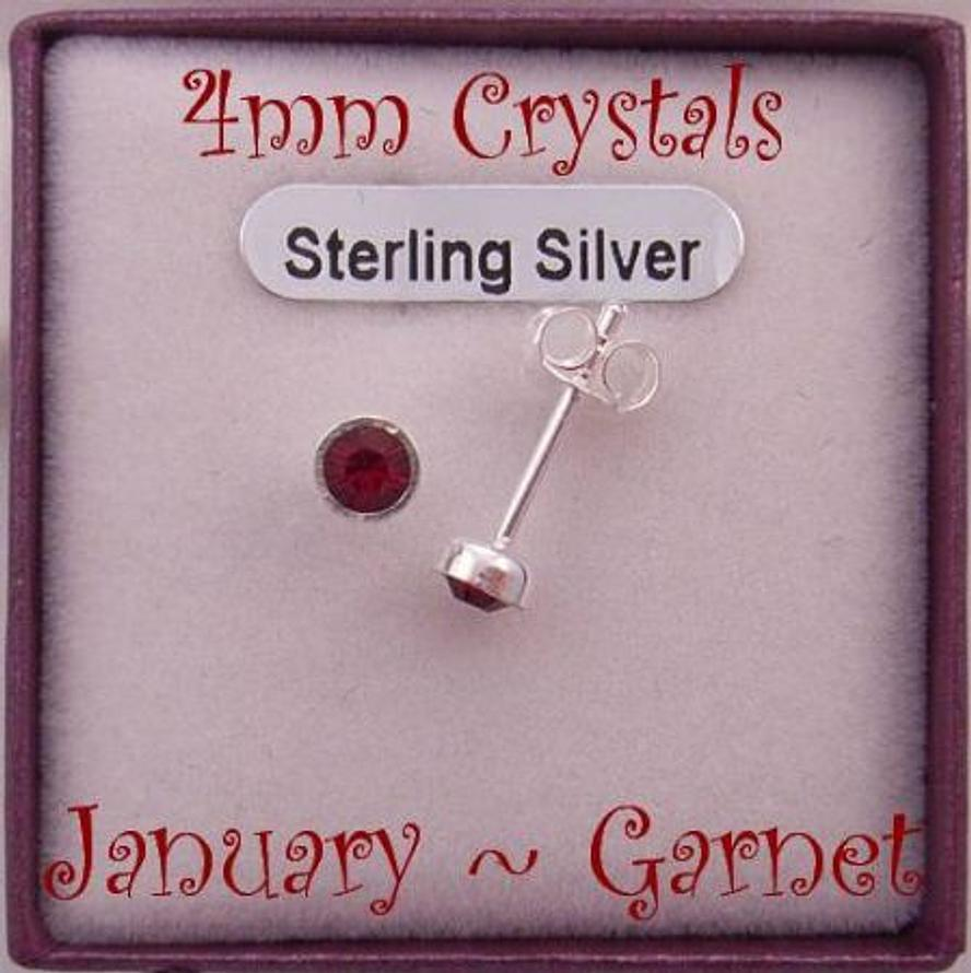 JANUARY GARNET STERLING SILVER 4mm CRYSTAL EARRINGS