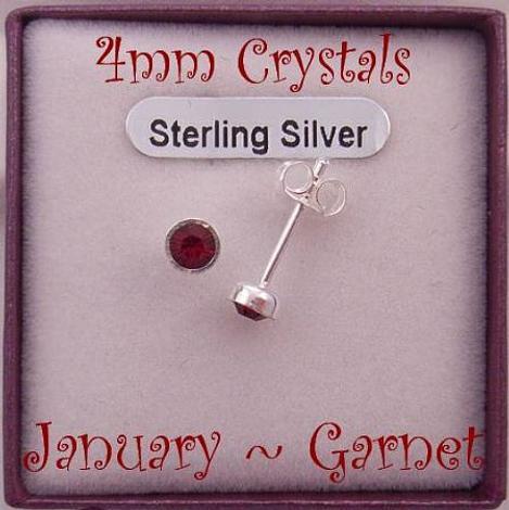 JANUARY GARNET STERLING SILVER 4mm CRYSTAL EARRINGS