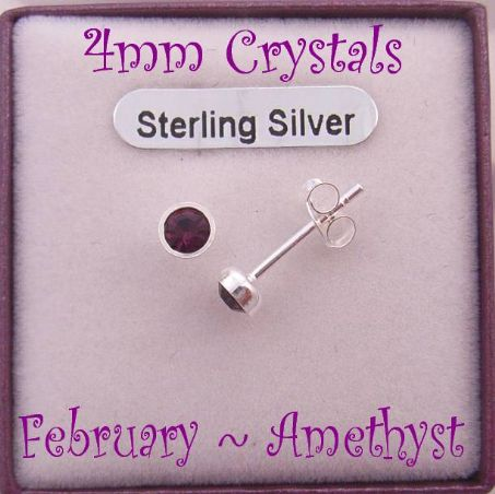 FEBRUARY AMETHYST STERLING SILVER 4mm CRYSTAL EARRINGS