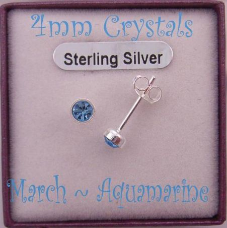 MARCH AQUAMARINE BLUE STERLING SILVER 4mm CRYSTAL EARRINGS