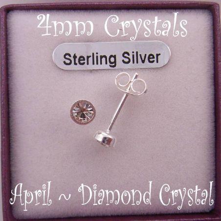 APRIL CRYSTAL DIAMOND STERLING SILVER 4mm CRYSTAL EARRINGS