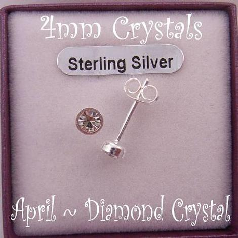 APRIL BIRTHSTONE STERLING SILVER 4mm CRYSTAL EARRINGS