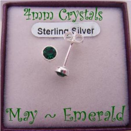 MAY EMERALD GREEN BIRTHSTONE STERLING SILVER 4mm CRYSTAL EARRINGS