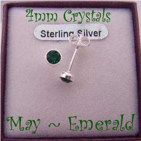 MAY EMERALD GREEN BIRTHSTONE STERLING SILVER 4mm CRYSTAL EARRINGS