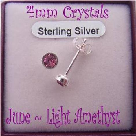 JUNE LIGHT AMETHYST BIRTHSTONE STERLING SILVER 4mm CRYSTAL EARRING