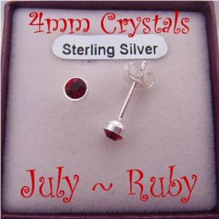 JULY RUBY RED BIRTHSTONE STERLING SILVER 4mm CRYSTAL EARRINGS