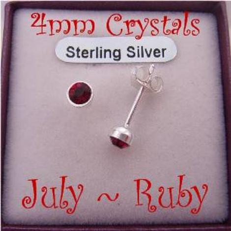 JULY RUBY RED BIRTHSTONE STERLING SILVER 4mm CRYSTAL EARRINGS