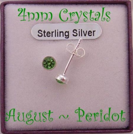AUGUST PERIDOT BIRTHSTONE STERLING SILVER 4mm CRYSTAL EARRINGS