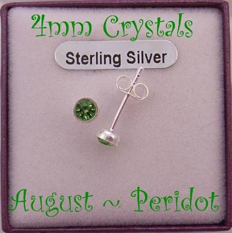 AUGUST PERIDOT BIRTHSTONE STERLING SILVER 4mm CRYSTAL EARRINGS