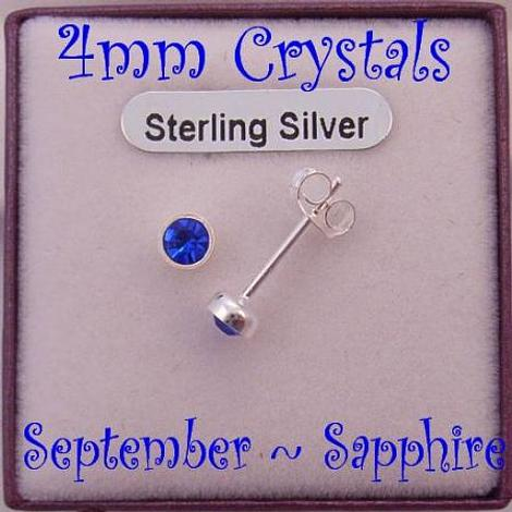 SEPTEMBER SAPPHIRE BIRTHSTONE STERLING SILVER 4mm CRYSTAL EARRINGS