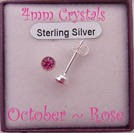 OCTOBER PINK ROSE BIRTHSTONE STERLING SILVER 4mm CRYSTAL EARRINGS