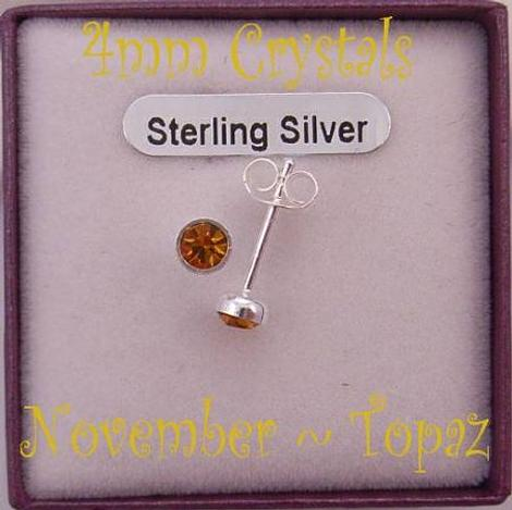 NOVEMBER TOPAZ BIRTHSTONE STERLING SILVER 4mm CRYSTAL EARRINGS