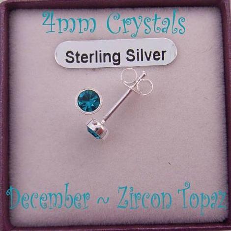 DECEMBER ZIRCON BIRTHSTONE STERLING SILVER 4mm CRYSTAL EARRINGS