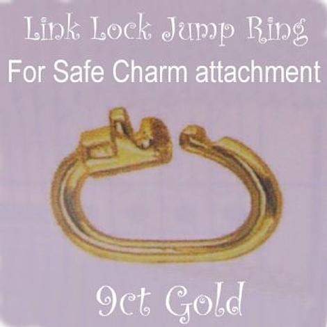 9CT YELLOW GOLD LINK LOCK JUMP RING SAFE CHARM ATTACHING JC-LL59Y