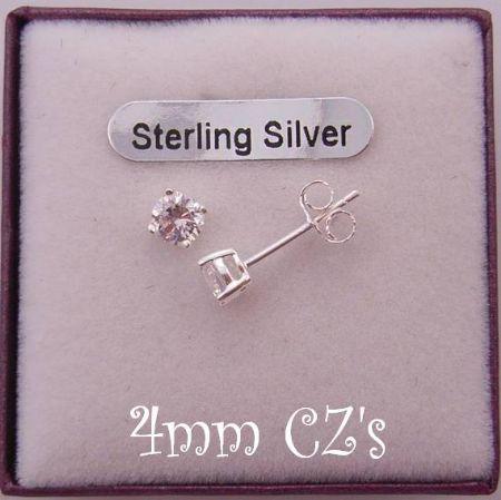 STERLING SILVER 4mm MANMADE DIAMOND CZ CUBIC ZIRCONIA STUD EARRINGS