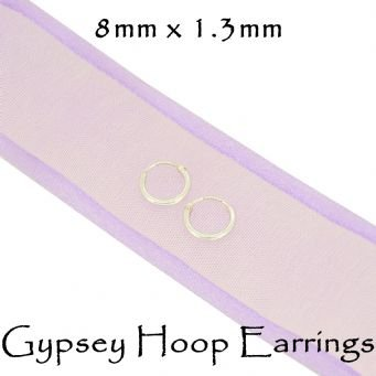 STERLING SILVER 6mm - 8mm TINY BABY GYPSEY HOOP EARRINGS