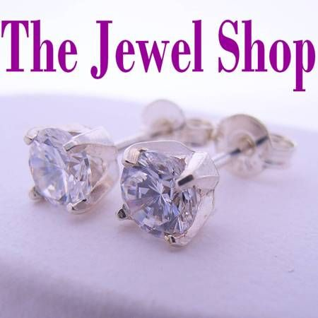 STERLING SILVER 5mm MANMADE DIAMOND CZ CUBIC ZIRCONIA STUD EARRINGS