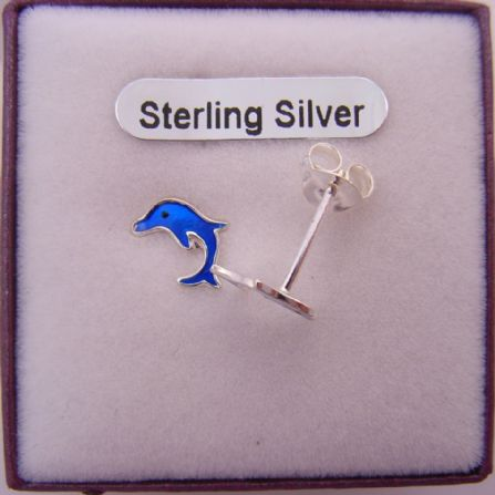 STERLING SILVER BABY DOLPHIN ENAMEL STUD EARRINGS