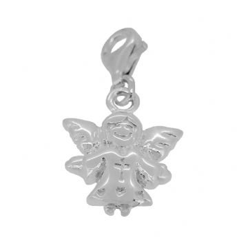 STERLING SILVER 13mm x 18mm GUARDIAN ANGEL CLIP ON CHARM