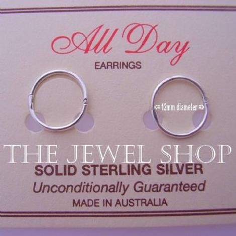 STERLING SILVER SMALL SIZE 12mm HINGED SLEEPER EARRINGS