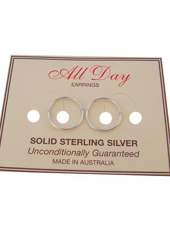 STERLING SILVER SMALL SIZE 10mm HINGED SLEEPER EARRINGS