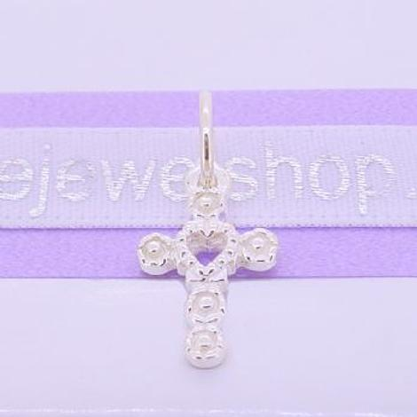 STERLING SILVER 9mm x 16mm FLOWER HEART CROSS TRADITIONAL CHARM