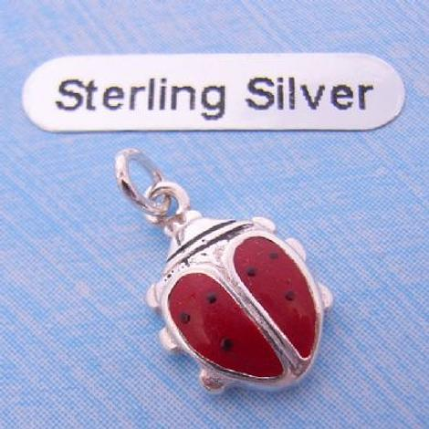 STERLING SILVER 8mm LADYBUG LADYBIRD CHARM PENDANT