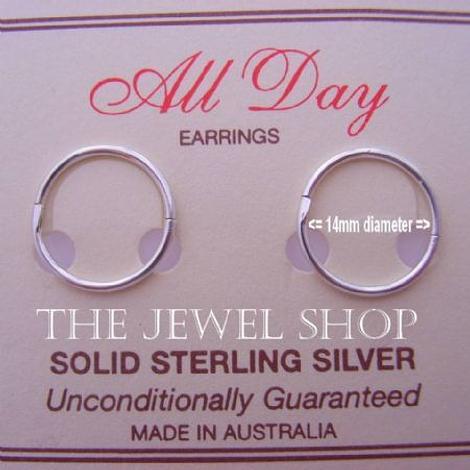 STERLING SILVER MEDIUM SIZE 14mm HINGED SLEEPER EARRINGS