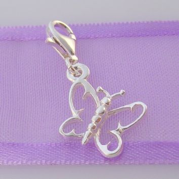 STERLING SILVER 12mm OPEN BUTTERFLY CLIP ON CHARM - HR1072