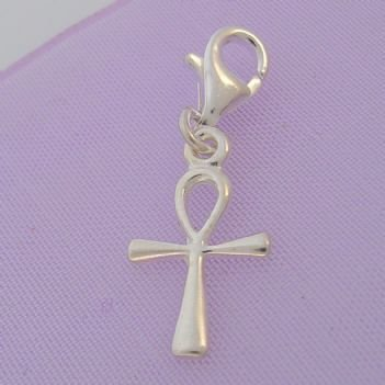 STERLING SILVER 10mm EGYPTIAN ANKH CLIP ON CHARM - HR1229