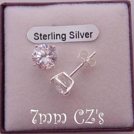 STERLING SILVER 7mm MANMADE DIAMOND CZ CUBIC ZIRCONIA STUD EARRINGS