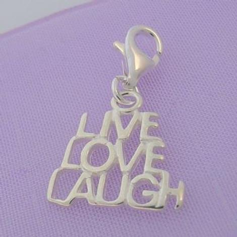 STERLING SILVER LIVE LOVE LAUGH CLIP ON CHARM HR2002