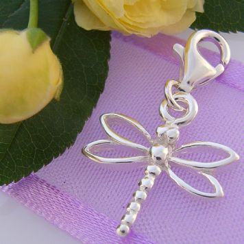 STERLING SILVER 15mm OPEN DRAGONFLY CLIP ON CHARM - HR3232