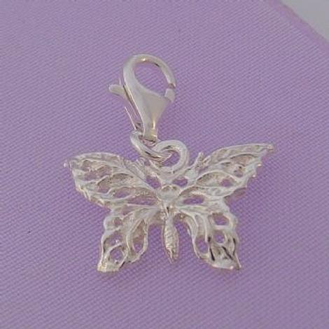 STERLING SILVER 17mm FILIGREE BUTTERFLY CLIP ON CHARM - HR464