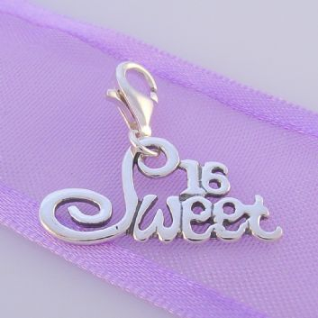 STERLING SILVER 22mm SWEET 16 BIRTHDAY CLIP ON CHARM - TI-01100