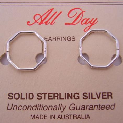 STERLING SILVER OCTAGONAL MEDIUM SIZE 14mm HINGED SLEEPER EARRINGS