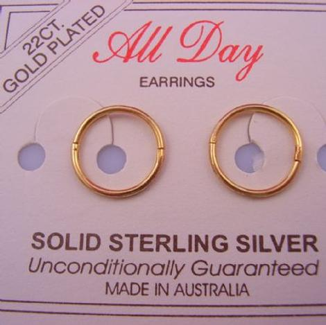 SMALL 10mm 22ct Gold Plated HINGED SLEEPER EARRINGS